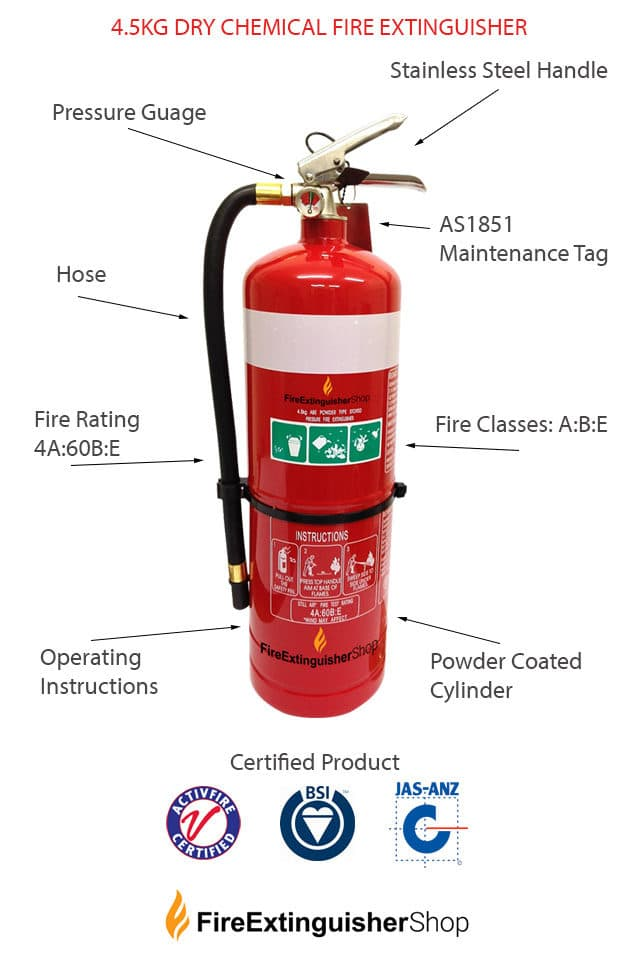 4.5kg Dry Chemical Fire Extinguisher Specs