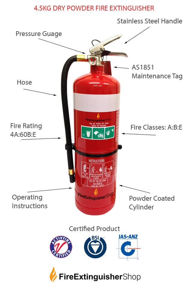 4.5kg Dry Powder Fire Extinguisher Specs